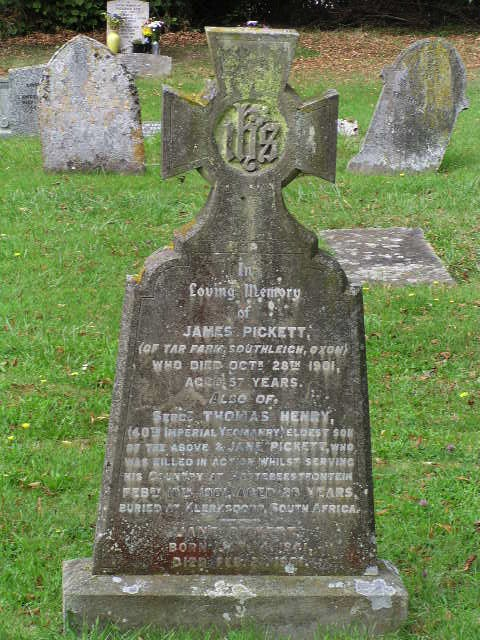 Thomas Henry Pickett headstone
