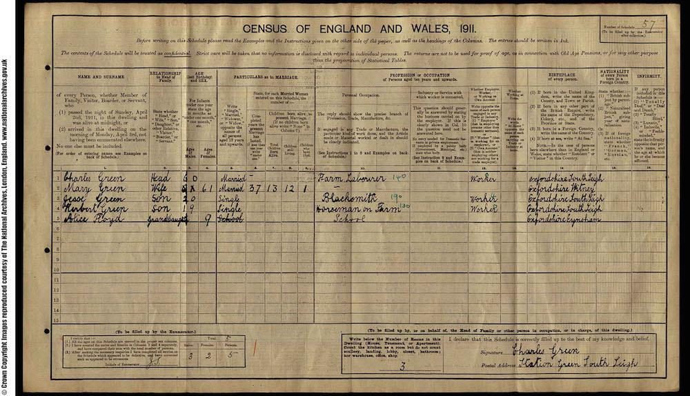 1911 Census - Herbert Green