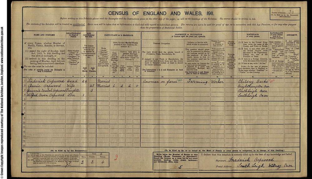 1911 Census - Frederick Orpwood
