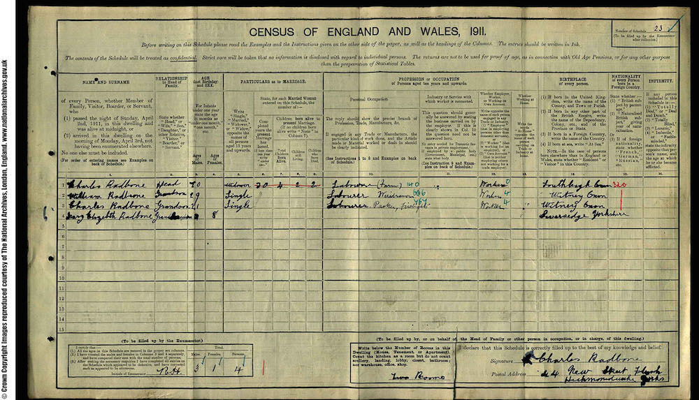 1911 Census - Charles Radbon