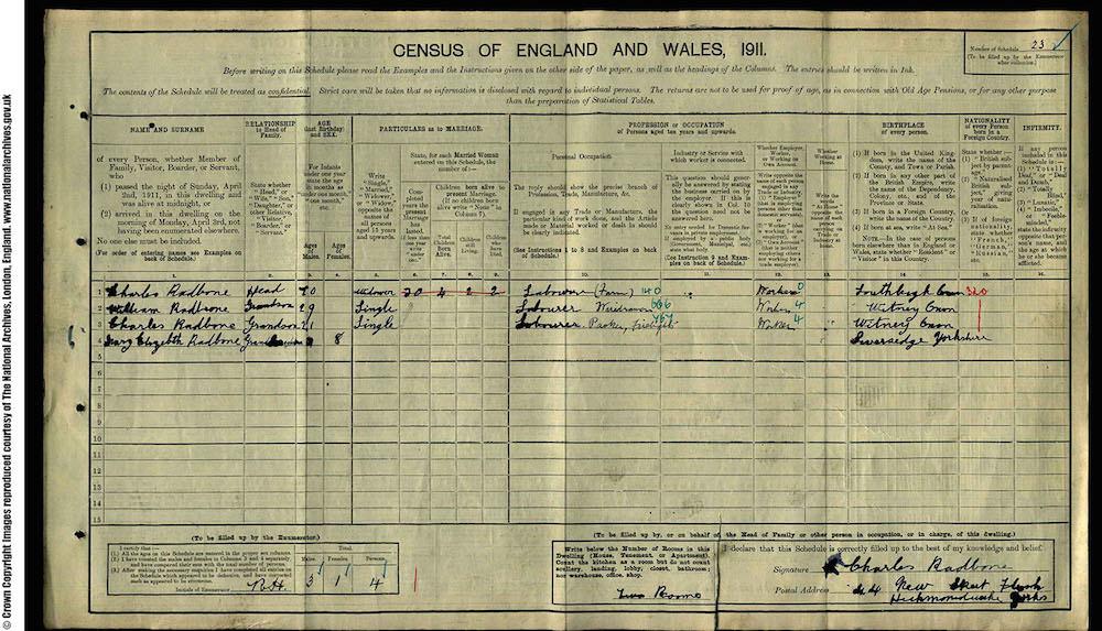 1911 Census - Charles Radbon