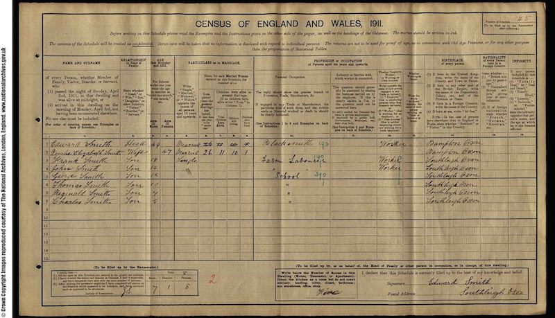 1911 Census - Frank Edmund Smith
