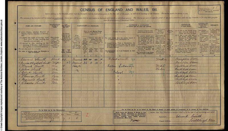 1911 Census - Frank Edmund Smith