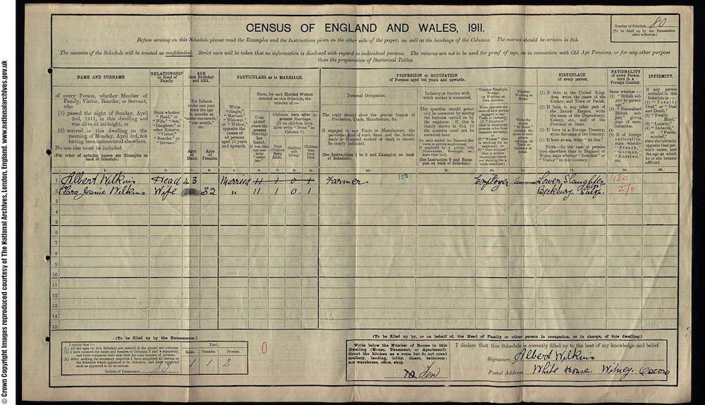 1911 Census - Frederick Albert Wilkins