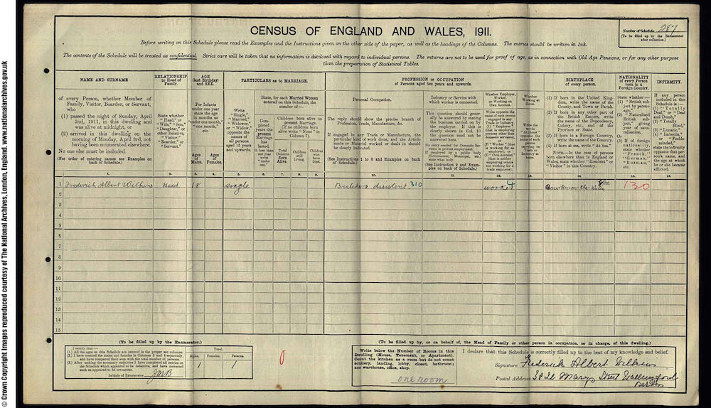 1911 Census - Frederick Albert Wilkins