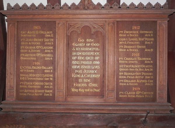 WWI memorial board